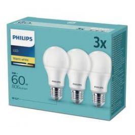 Philips klasik, 9W, E27, teplá bílá (3ks) (8718696828199)