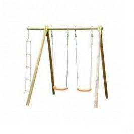 Trigano dřevěná - 2 sedátka + 1 provazový žebřík