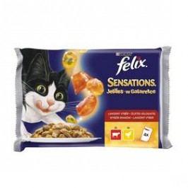 Felix Sensations s hovězím a želé s rajčaty, kuřetem a želé s mrkví (4x100g)