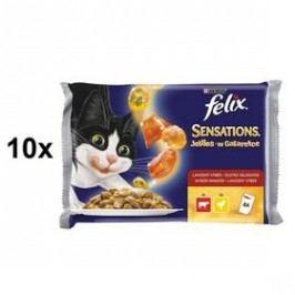 Felix Sensations s hovězím a želé s rajčaty, kuřetem a želé s mrkví 10 x (4 x 100g)