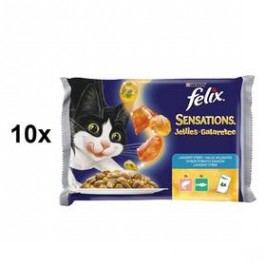 Felix Sensations s lososem a želé s krabí příchutí, treskou a želé s rajčaty 10 x (4 x 100g)
