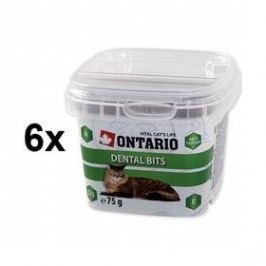 Ontario Snack Dental Bits 6 x 75g Kočky