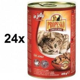 Propesko kousky kočka hovězí + játra 24 x 415g