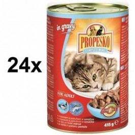 Propesko kousky kočka tuňák + losos 24 x 415g