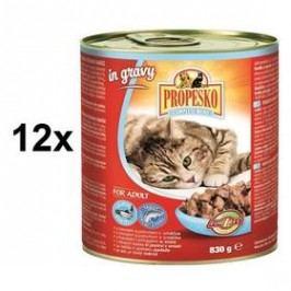 Propesko kousky kočka losos a pstruh v omáčce 12 x 830g