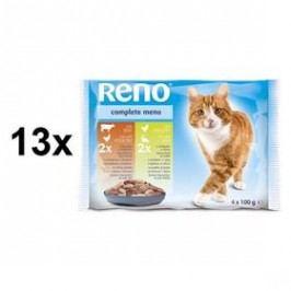 Reno pro kočku s drůbežím a hovězím + s drůbežím a rybou 13 x (4 x 100g)