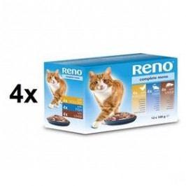 Reno pro kočku s rybou + s drůbežím + s játry 4 x (12 x 100g)