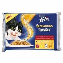Felix Sensations Crunchy v želé s hovězím, kuřetem a křupavou posypkou 3 x 100g + 12 g