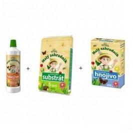 Set přípravků Agro Malý zahradník kapalné hnojivo + organické hnojivo + substrát