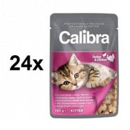 Calibra Cat Kitten krůtí a kuřecí v omáčce 24 x 100 g