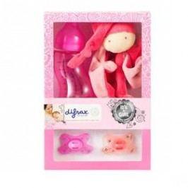 Difrax pro holčičku (láhev, dudlík 2ks, plyšová hračka) růžová
