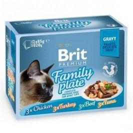 Brit Premium Premium Cat Delicate Fillets in Gravy Family Plate 12 x 85g Kočky