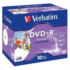 Verbatim Printable DVD+R 4,7GB, 16x, jewel box, 10ks (43508)