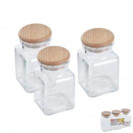 Dóza sklo/dřevo víko 0,15l 3ks