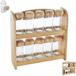 Kořenka sklo/dřevo 10 ks+polička dřevo ORION