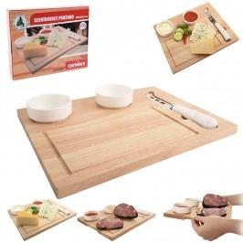 Prkénko dřevo+nůž+misky keramika