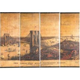 Nástěnná dekorace East River Bridge Canvas (4/Set)