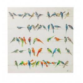 Obraz s ručními tahy Birds Meeting 100x100cm