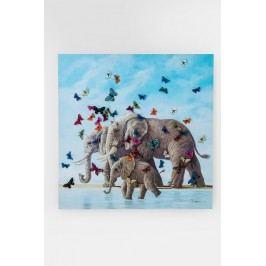 Obraz s ručními tahy Elefants with Butterflys 120x120cm