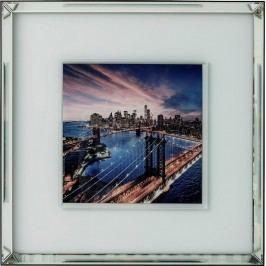 Obraz se zrcadlovým rámem Manhattan Bridge 80x80cm