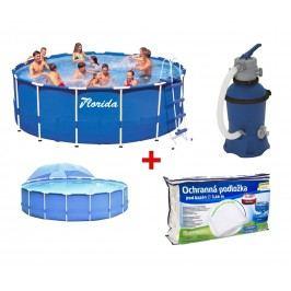 Výhodná bazénová sada - Bazén Florida 3,66x0,76 m. s filtrací a podložkou + zastínění
