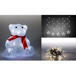 Sada LED osvětlení (Medvěd + světelný řetěz hvězdy + světelný řetěz 100 LED - studená bílá) 19900054