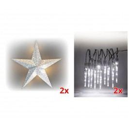 Sada LED osvětlení (2x Svítící hvězda + 2x Rampouchy LED 10 ks) 19900056