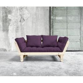 Rozkládací pohovka Beat Natural & Purple 75x200 cm