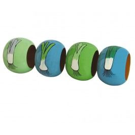Sada 4 prstenů na ubrousky Shallots Blue Green