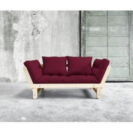 Rozkládací pohovka Beat Natural & Bordeaux 75x200 cm