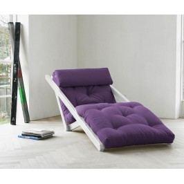 Rozkládací lehatko do obývačky Figo White & Purple 70x200 cm