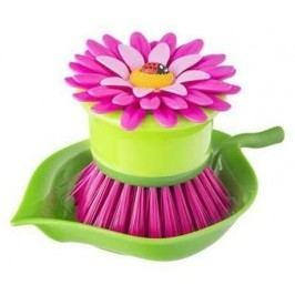 Kartáč na nádobí s podstavcem Flower Power Palm Violet