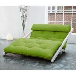 Rozkládací lehátko do obývaku Figo White & Lime 120x200 cm