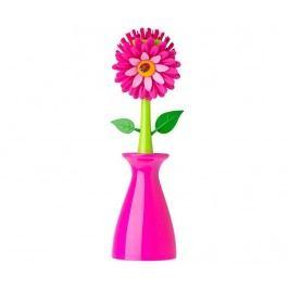 Kartáč na nádobí se stojanem Flower Power Pink