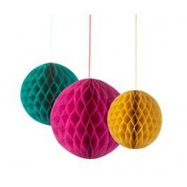 Sada 3 závěsných dekorací Honeycomb Colors