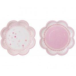 Sada 8 jednorázových talířů Pink Flowers