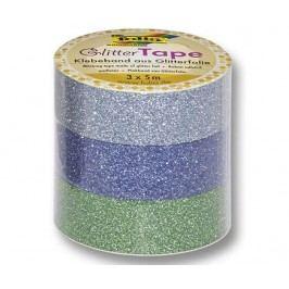 Sada 3 rolí textilní lepící pásky Glitter