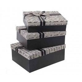 Sada 3 krabic s víkem Black Letters