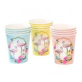 Sada 12 jednorázových kelímků Flamingo Designs