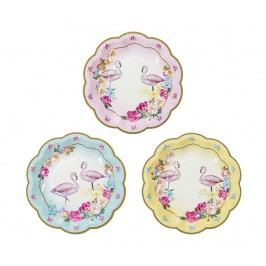 Sada 12 jednorázových talířů Truly Flamingo