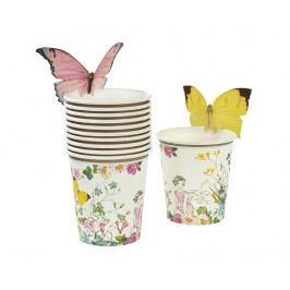 Sada 12 jednorázových kelímků a 12 doplňků Fairy Butterfly