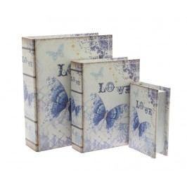 Sada 3 krabic ve tvaru knihy Love Butterfly