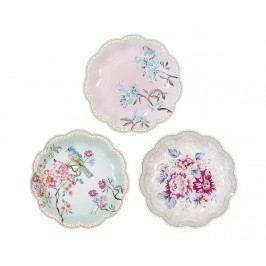 Sada 12 jednorázových talířů Romantic Flowers
