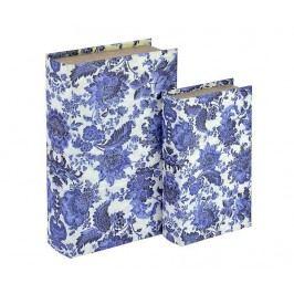 Sada 2 krabic ve tvaru knihy Blue Flower