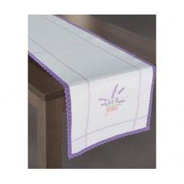 Středový ubrus Sadie Cream Purple 40x140 cm