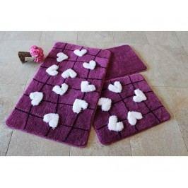Sada 3 předložek do koupelny Kally Purple
