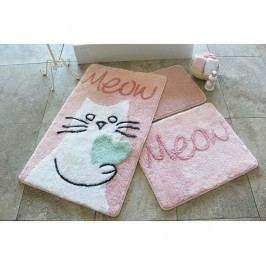 Sada 3 předložek do koupelny Kedi Pink Koupelnové předložky