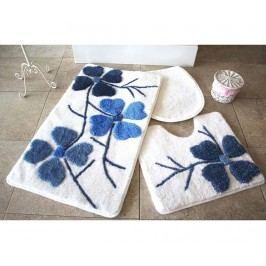 Sada 3 předložek do koupelny Flowers Blue