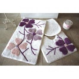 Sada 3 předložek do koupelny Flowers Pink