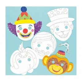 Sada 6 masek na dekorování Circus